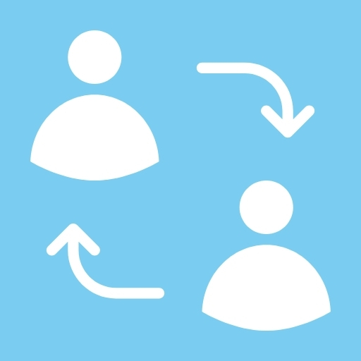 Light blue background with arrows pointing towards two figures.