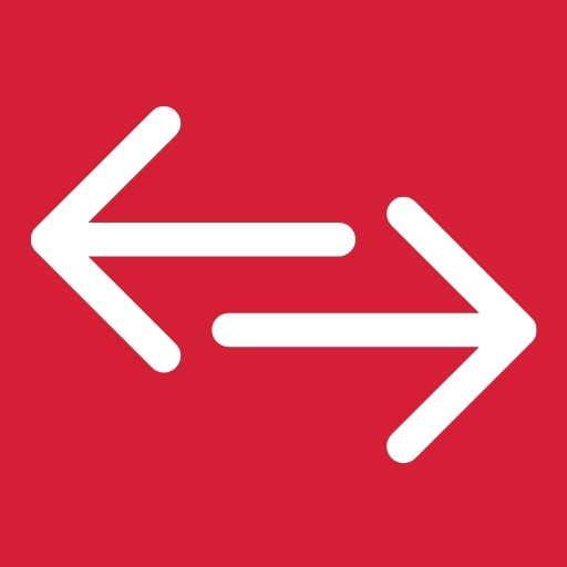 Red background with arrows pointing left and right.